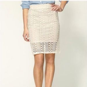 Free People Ivory Comb Pencil Skirt